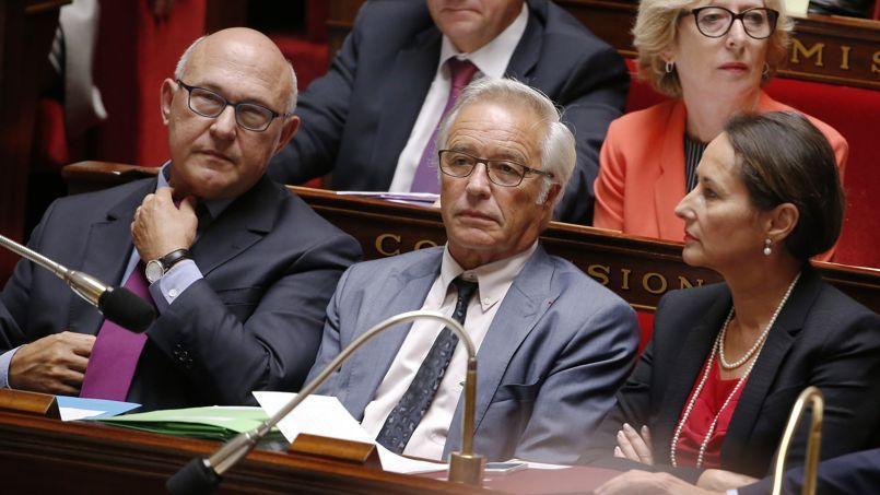 François Rebsamen aux cotés de Michel Sapin et Ségolène Royal à l'Assemblée Nationale