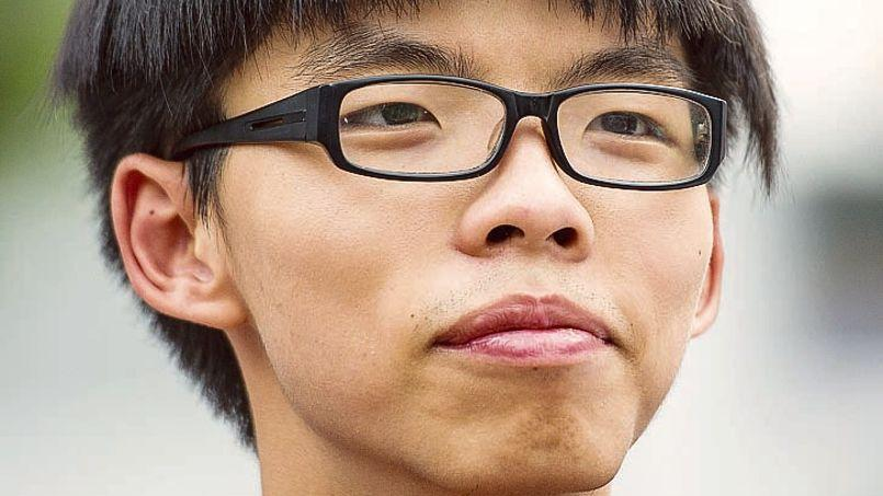 Joshua Wong, 17 ans, lors d'une manifestation à Hongkong, le 22 septembre.