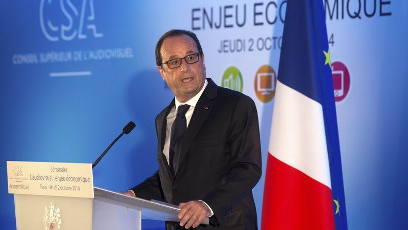 François Hollande, jeudi au CSA à Paris.