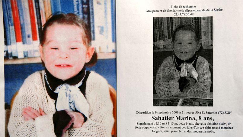 La jeune Marina, 8 ans, et l'avis de disparition qui avait été diffusé en 2009.