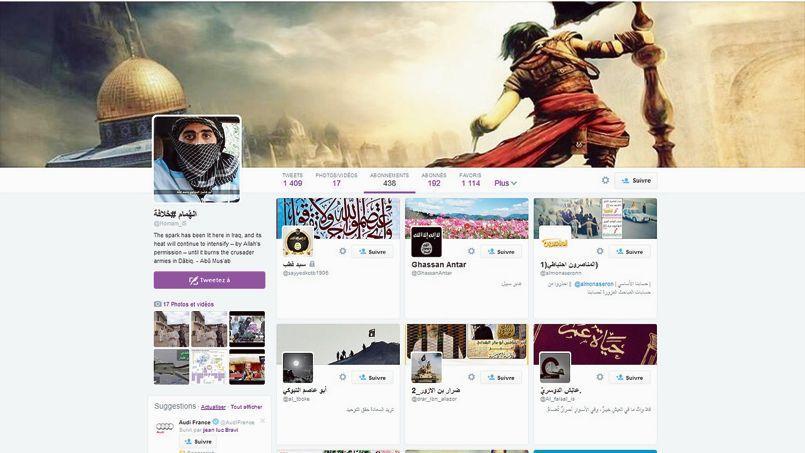 Capture du compte Twitter d'un partisan de l'État islamique ouvert sur la liste de ses abonnements. Bien que la société états-unienne ait fermé plusieurs de ces sites, ils réapparaissent vite sous d'autres noms.