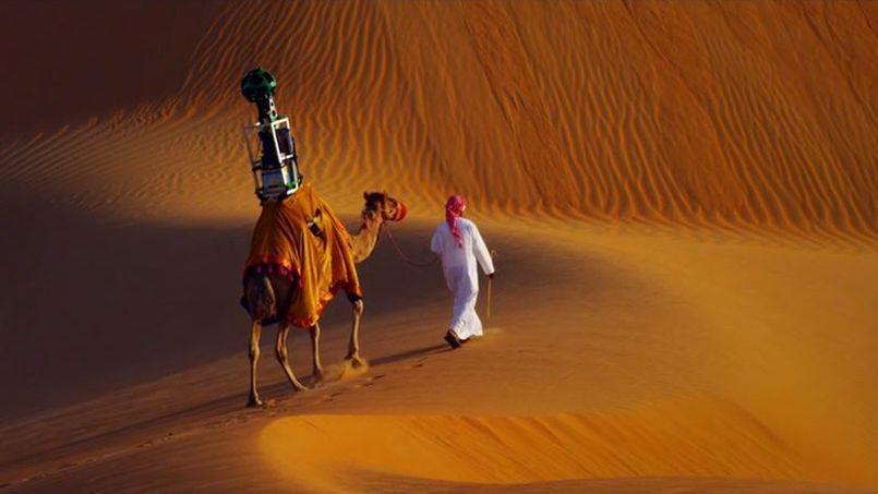 Google a installé son outil de photo sphérique, le Trekker, sur le dos d'un dromadaire pour cartographier le désert de Liwa aux Émirats arabes unis @Google