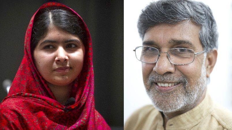 La Pakistanaise Malala Yousafzai (à gauche) et l'Indien Kailash Satyarthi (à droite) recevront la prestigieuse récompense à Oslo le 10 décembre, date anniversaire de la mort d'Alfred Nobel.