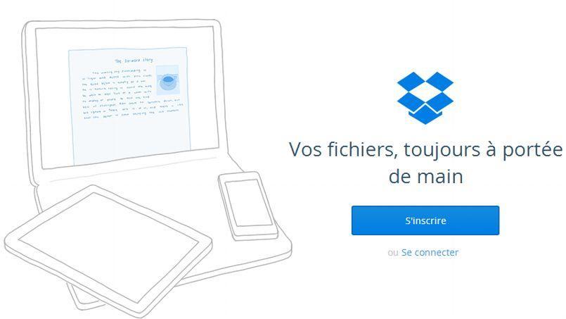 La page d'accueil de Dropbox.
