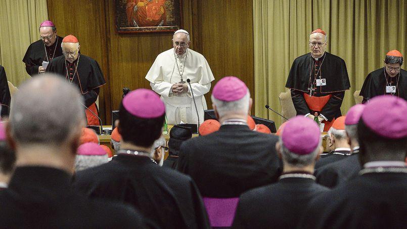 Le pape François lors de son discours au synode sur la famille, le 6 octobre, au Vatican.