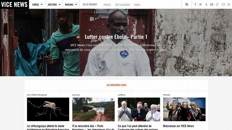 Capture d'écran de la déclinaison française de Vice News.