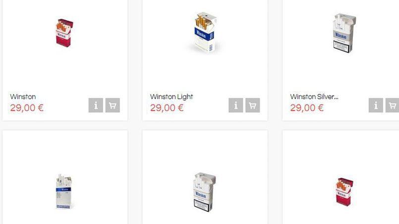 Capture d'écran d'un site Internet proposant du tabac à la vente. (DR)