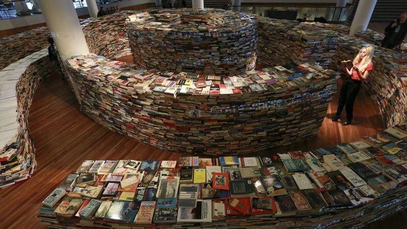 Un labyrinthe de livres à Londres, en 2012.