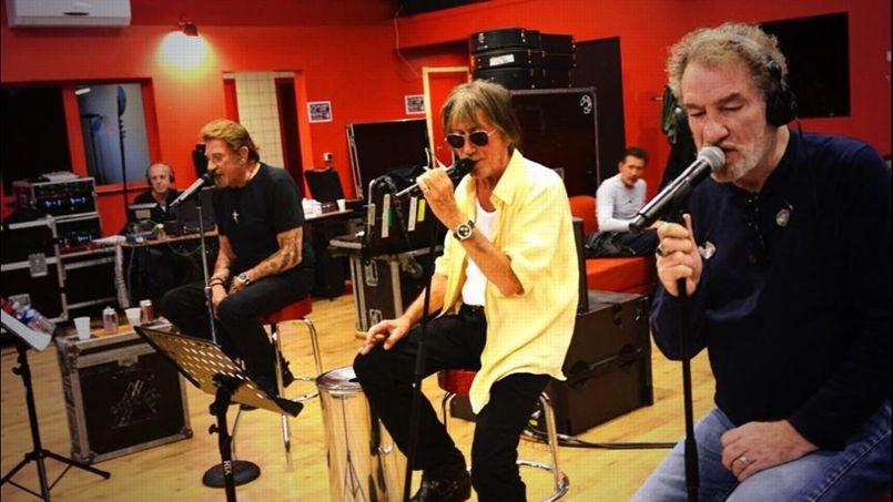 Johnny Hallyday, Jacques Dutronc et Eddy Mitchell en répétition.