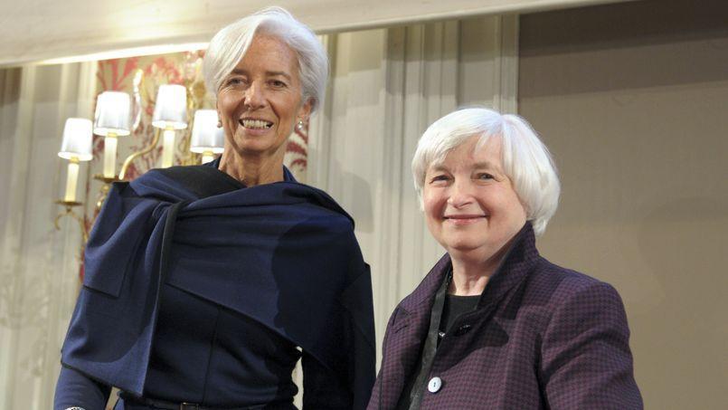 Christine Lagarde, directrice du FMI, et Janet Yellen, présidente de la Fed américaine, vendredi à Paris.
