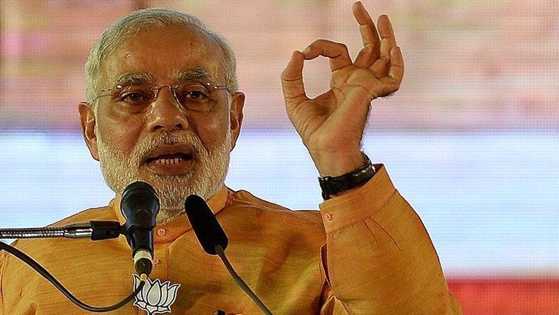 Le premier ministre indien, Narendra Modi, lors d'un discours à Bombay.