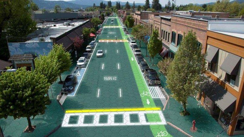 Illustration de Solar Roadways, crée aux Etats-Unis - Photo Solar Roadways