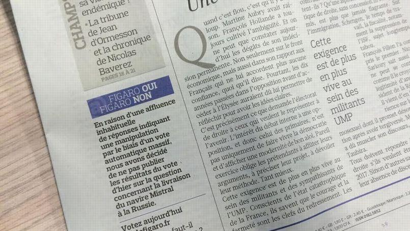 Nous avons choisi de ne pas publier les résultats à la question du jour: «La France doit-elle livrer le navire Mistral à la Russie?»