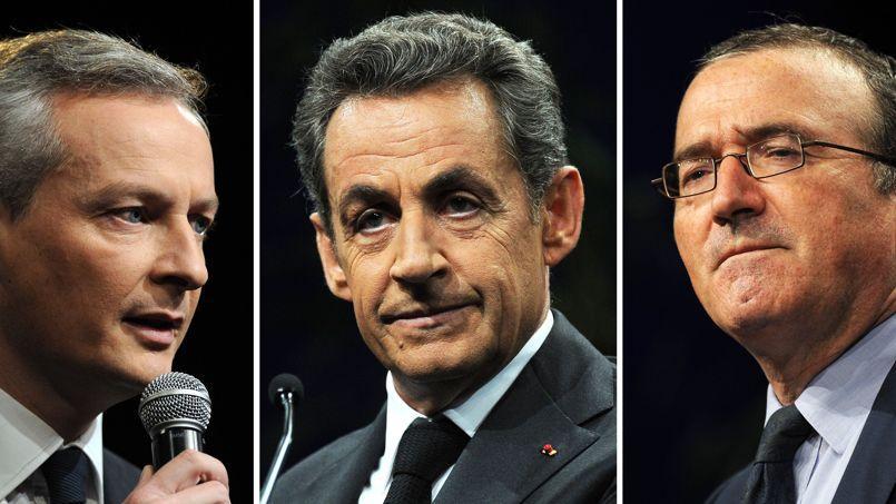 Bruno Le Maire, Nicolas Sarkozy et Hervé Mariton (de gauche à droite), le 15 novembre à Paris.