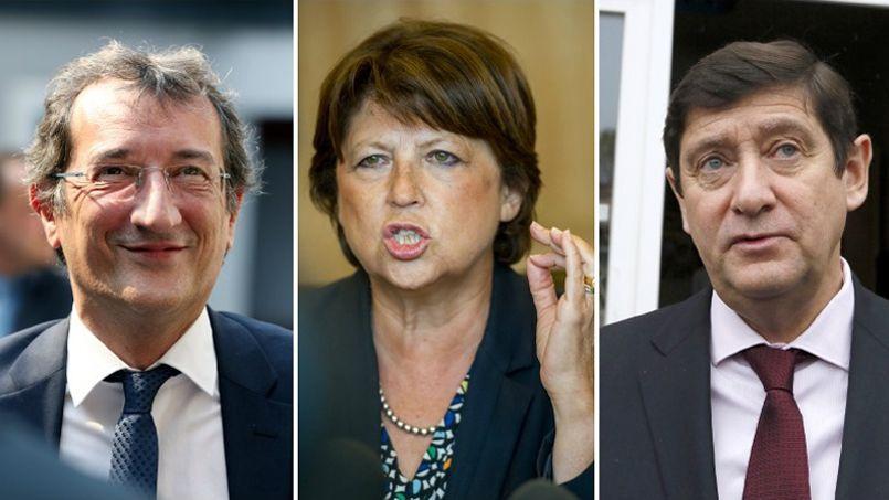 De gauche à droite: François Lamy, Martine Aubry et Patrick Kanner.