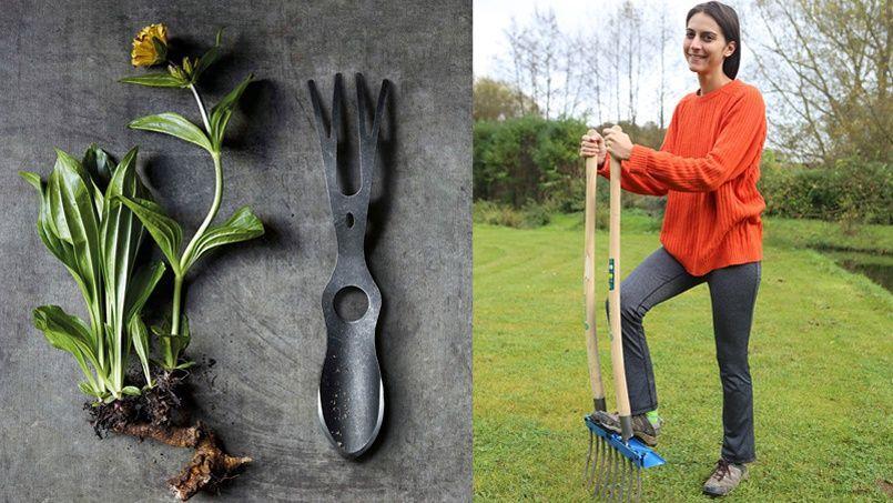 Le Garden fetish (à gauche) et la Bi-Bêche, ou comment se simplifier la vie au jardin. DR