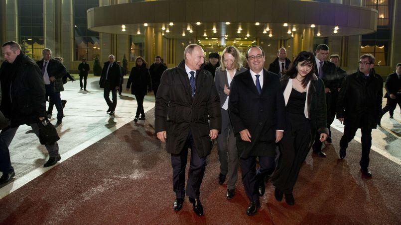 François Hollande et Vladimir Poutine, ce samedi à Moscou.