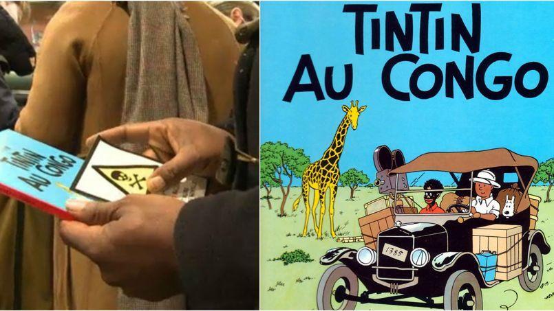 Extrait de la couverture de l'album de bande dessinée Tintin au Congo, dans le collimateur du Groupe d'intervention contre le racisme, qui lui a accolé des autocollants «produit toxique» pour prévenir de son caractère raciste.