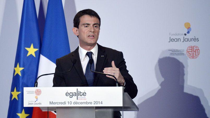 Manuel Valls lors de son discours à la fondation Jean Jaures, mercredi.