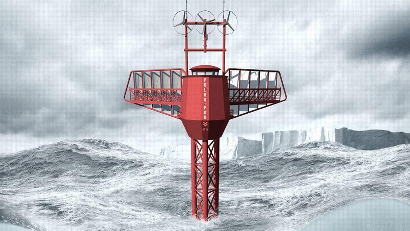 Image de synthèse de Polar Pod. Ce navire scientifique peu consommateur d'énergie, dont un prototype est testé en bassin, permettra de naviguer dans des conditions de mer très hostiles.