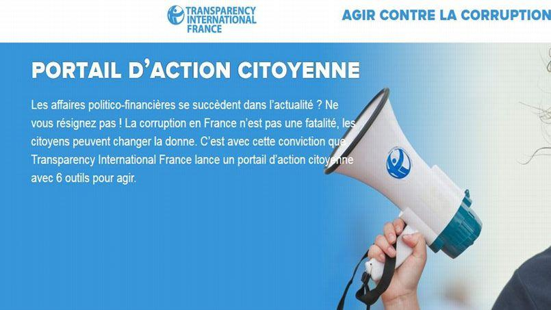 Capture d'écran du site Transparency International