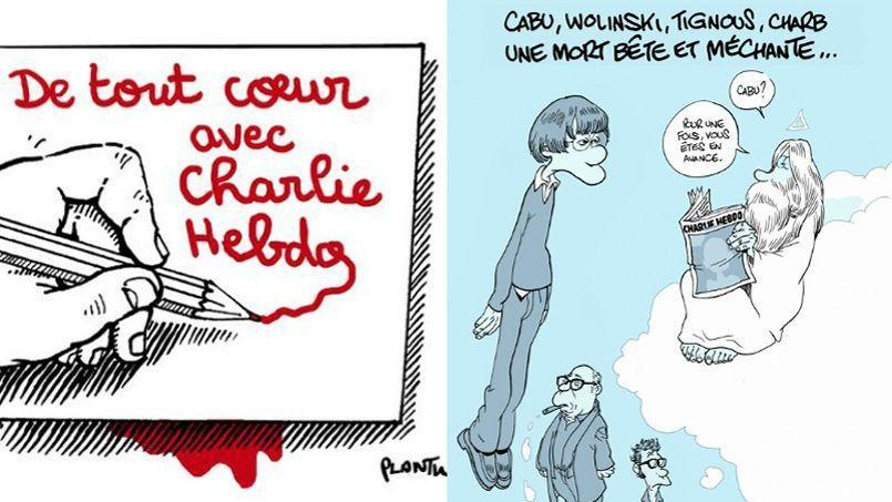 Plantu et Zep signent deux dessins en hommage à leurs confrères de Charlie Hebdo.