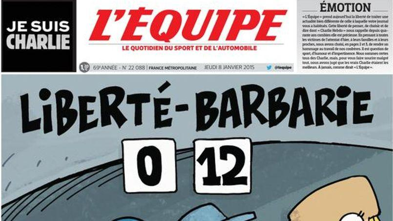 Charlie Hebdo : L'Equipe dédie aussi sa Une