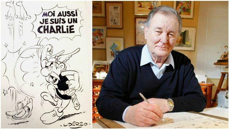 Le patriarche de la bande dessinée française s'est exprimé en direct sur Europe 1 vendredi matin. Il est notamment revenu sur l'unique dessin d'Astérix en hommage à Charlie Hebdo, réalisé jeudi et publié par Le Figaro.