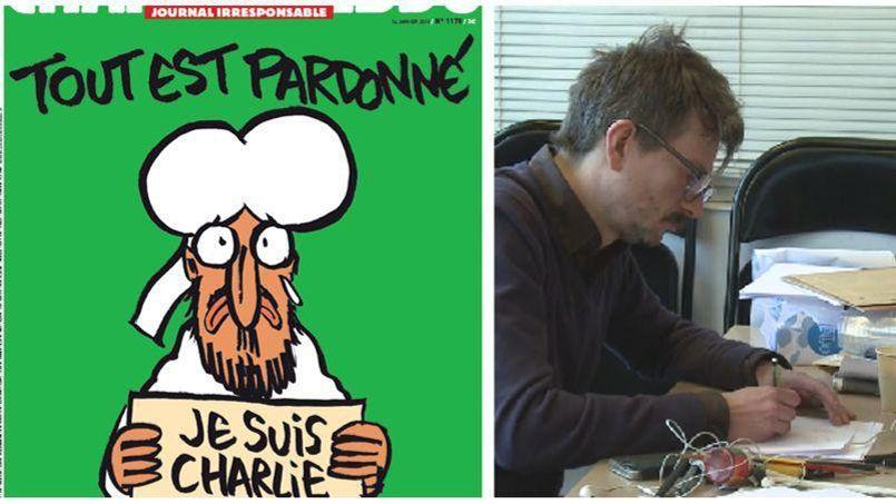 La couverture de Charlie Hebdo du mercredi 14 janvier et le dessinateur Luz en train de travailler dans la rédaction de Libération.