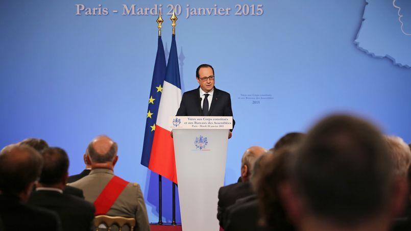 François Hollande, mardi, lors de ses vœux aux corps constitués