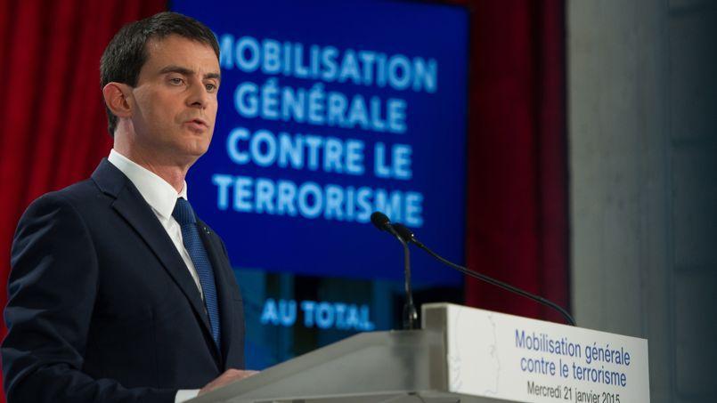Le premier ministre, Manuel Valls, mercredi, lors de la présentation de ses annonces contre le terrorisme