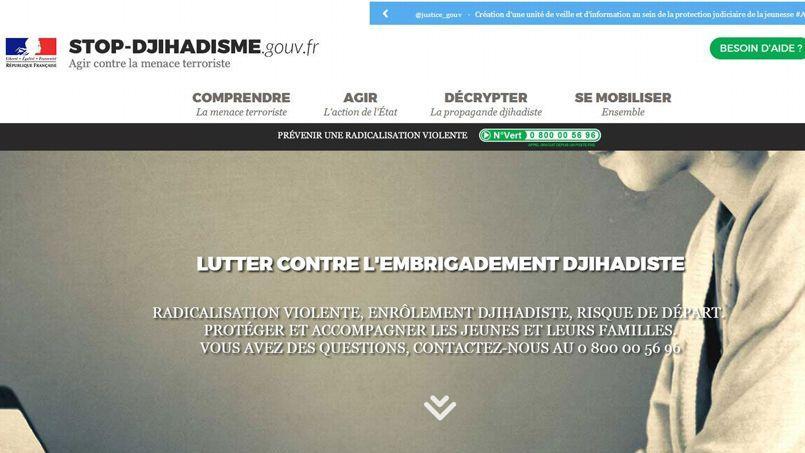Capture d'écran du site http://www.stop-djihadisme.gouv.fr/