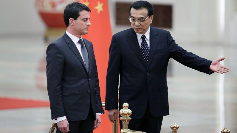 Manuel Valls et le premier ministre chinois Li Keqiang à Pékin ce jeudi.