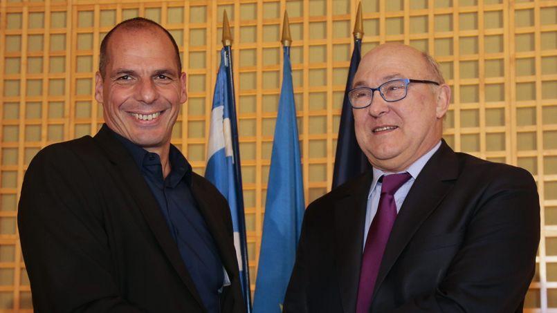Le ministre des finances grec, Yanis Varoufakis, dimanche avec Michel Sapin.
