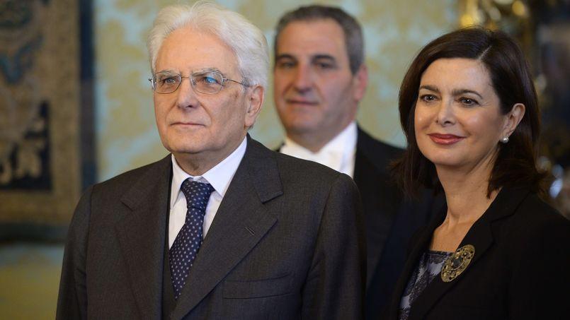 Le nouveau président italie Sergio Mattarella et Laura Boldrini, présidente de la Chambre des députés.