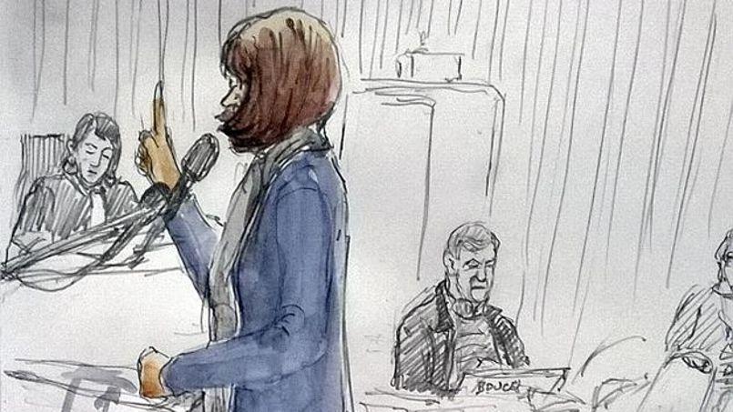 Un dessin de Benoît Peyrucq représentant Jade à la barre du tribunal de Lille.