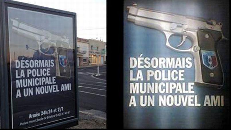 Campagne publicitaire à Béziers pour vanter l'armement de la police municipale