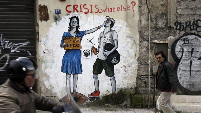 Graffiti anti-austérité dans les rues d'Athènes.