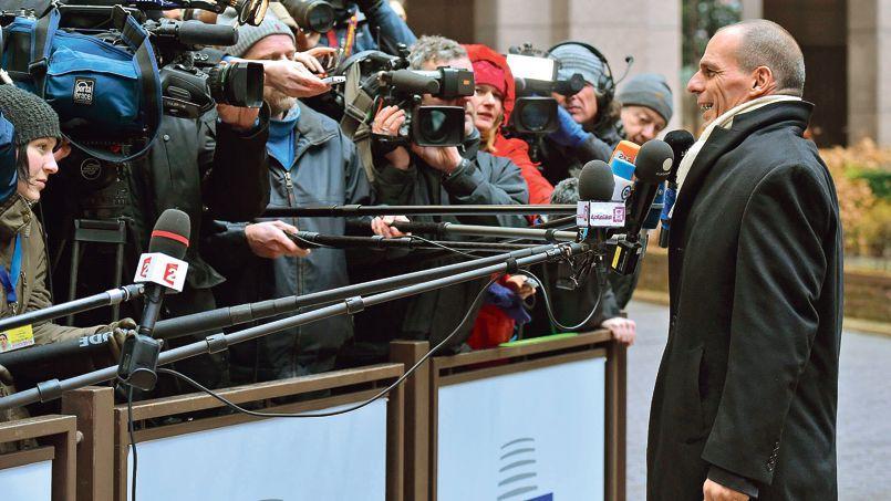 Yanis Varoufakis, le ministre grec des Finances, à son arrivée à la réunion de l'Eurogroupe ce vendredi à Bruxelles.