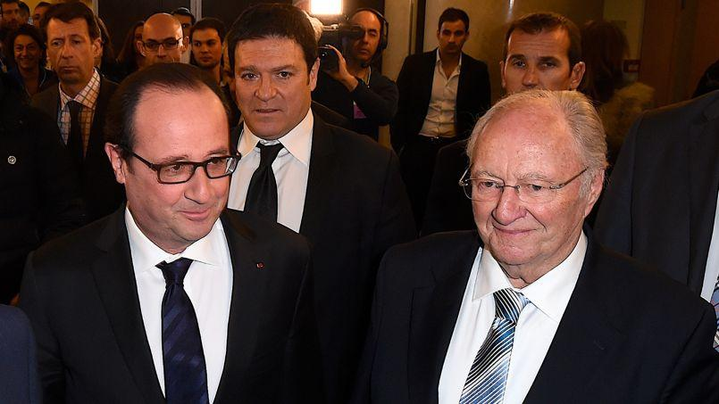 Francois Hollande et Roger Cukierman, lundi, au dîner du Crif.