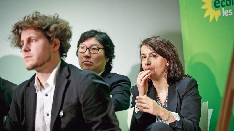 Julien Bayou, Jean-Vincent-Placé et Cécile Duflot lors de la cérémonie des vœux à la presse d'Europe Écologie-Les Verts, en janvier