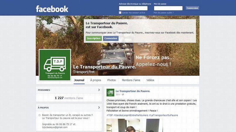 La page Facebook de l'entreprise, en attendant le site officiel, en cours de construction.