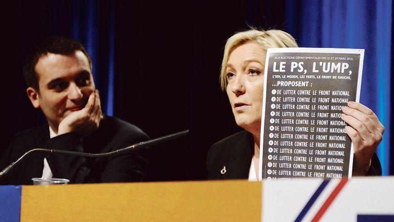 Marine Le Pen et Florent Philippot, au cours d'un meeting électoral pour les départementales, lundi, à Metz.