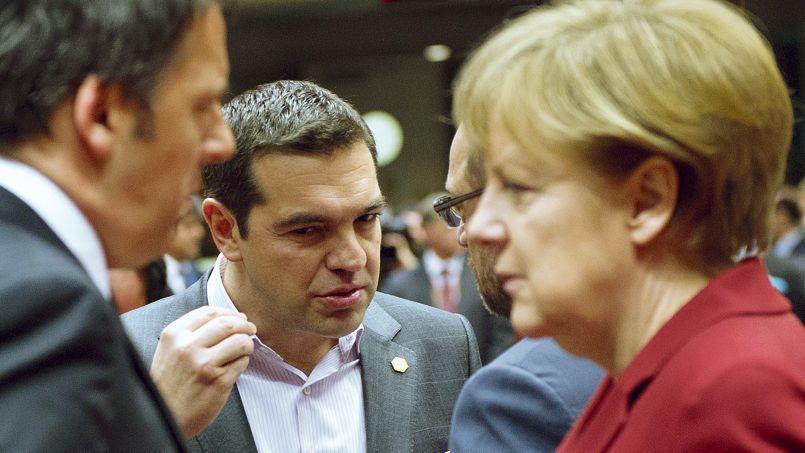 Le chef du gouvernement grec Alexis Tsipras et la chancellière allemande Angela Merkel, le 19 mars à Bruxelles.