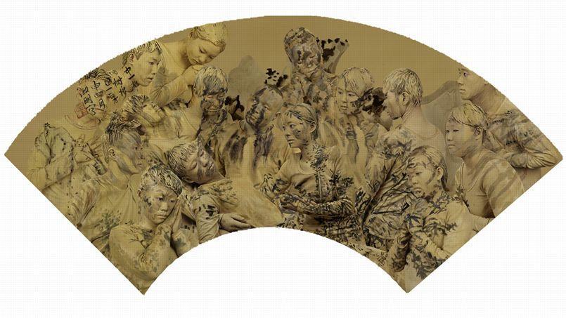 Target - Chinese Fans n°1, 2015. Jusqu'au 2 mai, l'artiste chinois, Liu Bolin expose ses oeuvres à la Galerie Paris-Beijing, à Paris.