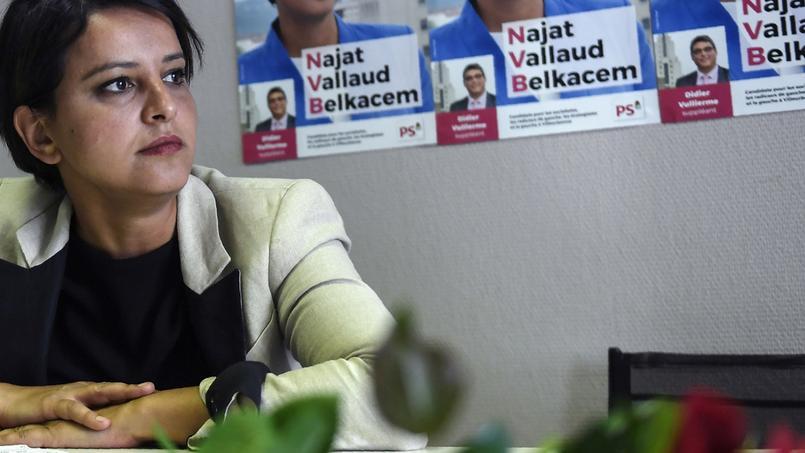 Najat Vallaud-Belkacem à Villeurbanne, où elle est candidate aux législatives, ce Lundi.