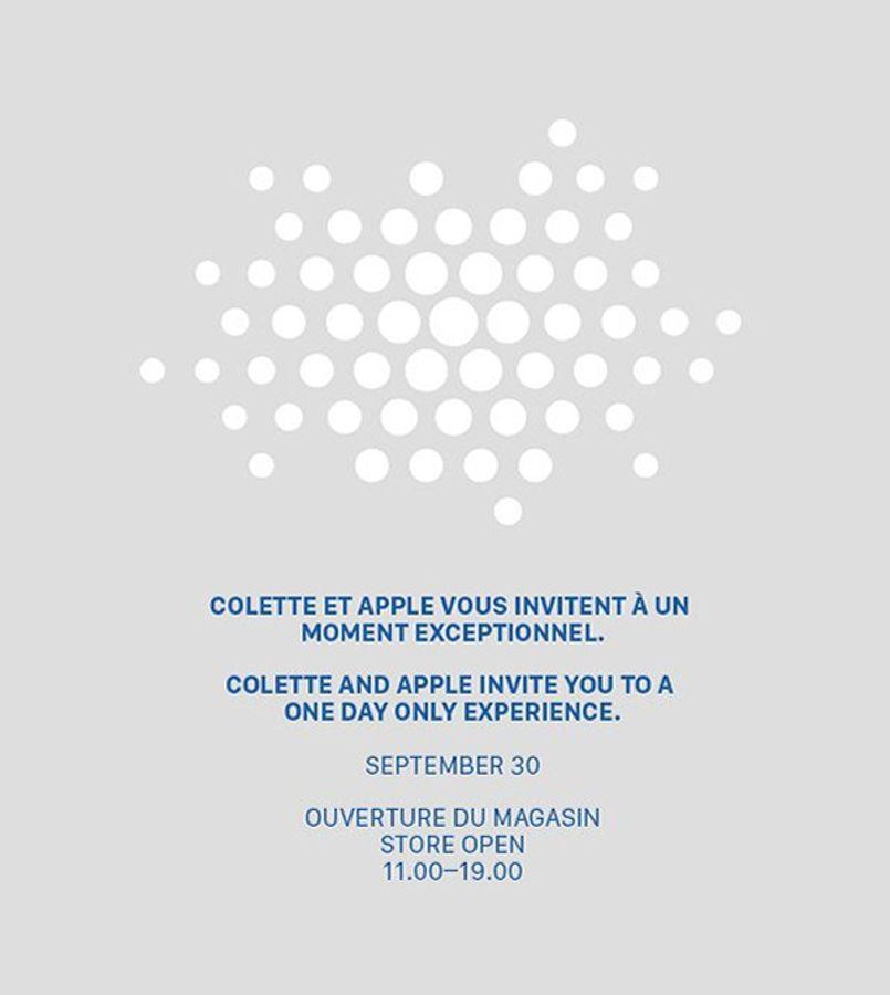 L'invitation envoyée par Apple et Colette.