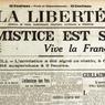 La Liberté, journal du soir, annonce la signature de l'armistice dans son édition du 11 novembre 1918: «La nouvelle, tombant du ciel, par les chemins d'où venaient naguère les bombes meurtrières, a éclaté sur Paris. C'est fini. Tout à l'heure, les canons vont se taire. La Mort a fini sa moisson.»