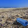Une bouteille en plastique jonche la plage de la côte atlantique des Squelettes, en Namibie. Les particules de plastique sont plus particulièrement réparties au niveau des gyres, ces gros tourbillons créés par les courants océaniques dans le Pacifique, l'Atlantique et l'océan Indien.
