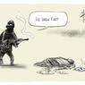 David Pope, dessinateur australien pour le journal Canberra Times. Le jeu de mot porte sur le verbe to draw qui signifie dessiner ou dégainer dans le cas d'une arme. I l a dessiné le premier/il a dégainé le premier.